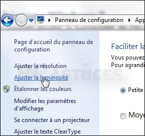 Eclairage windows 7