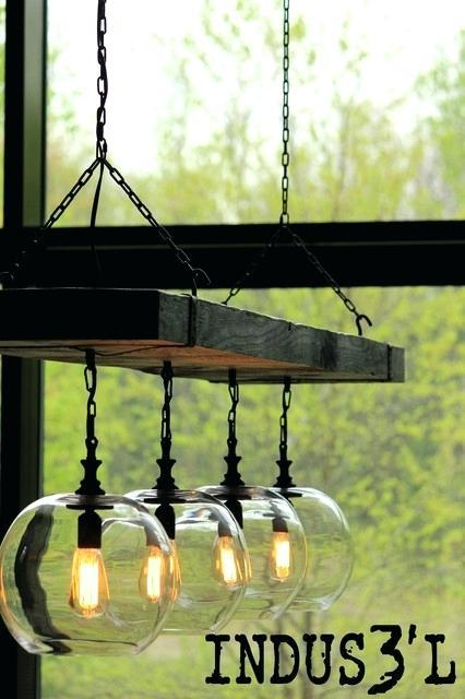 Suspension luminaire bois et verre