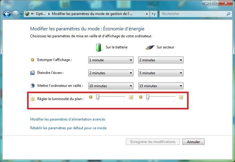 Windows 8 eclairage ecran