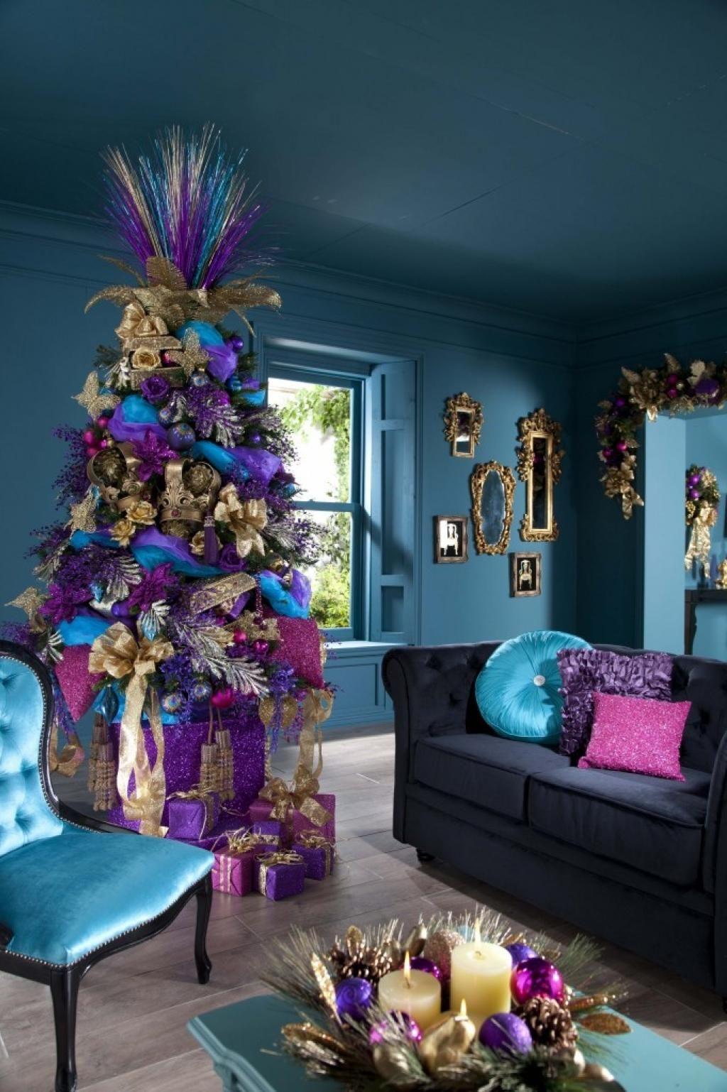 Decoration noel bleu et rose