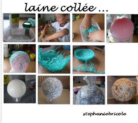 Boule de noel avec un ballon et de la laine
