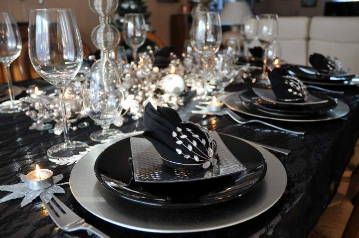 Deco table noel noir et or