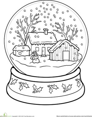 Coloriage boule de neige noel
