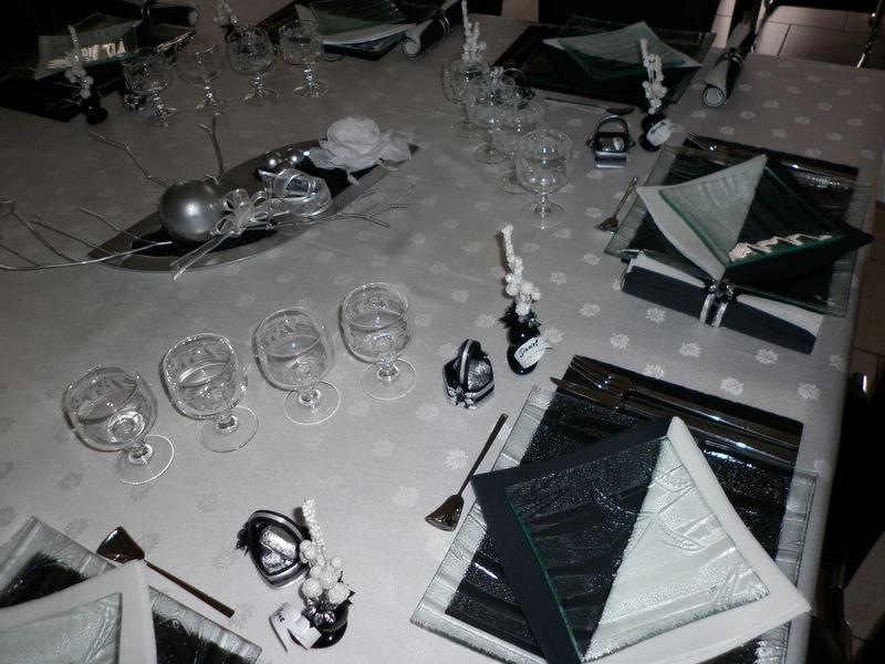 Deco table noel noir et argent