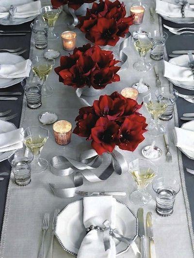 Idee deco table noel gris et rouge
