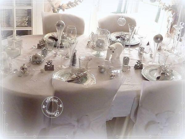 Deco table noel blanc et argent