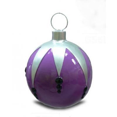 Boule de noel violet et argent