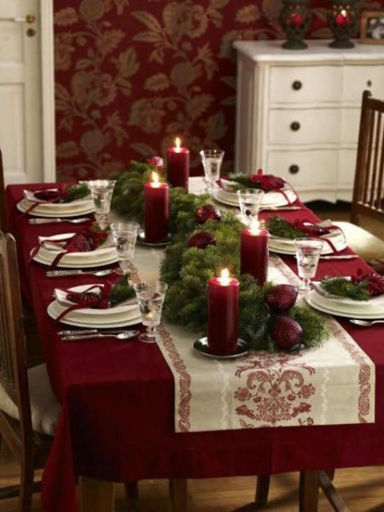 Decoration table noel en rouge