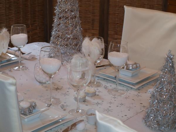 Decoration Table De Noel Rouge Argent