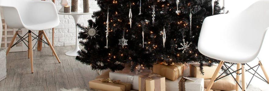 Decoration sapin noel noir et or