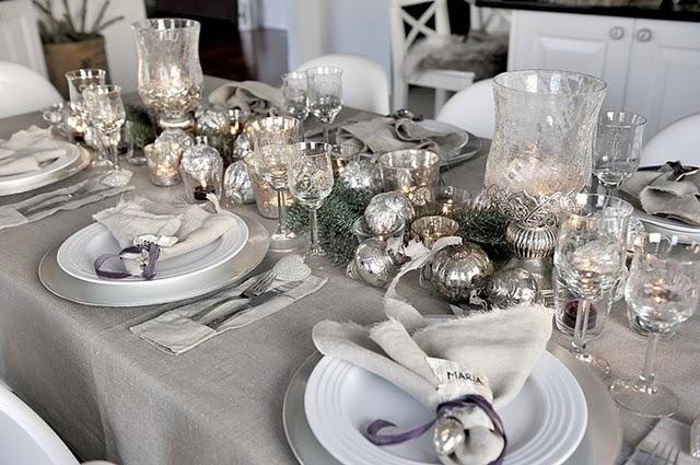 Decoration table noel blanc gris