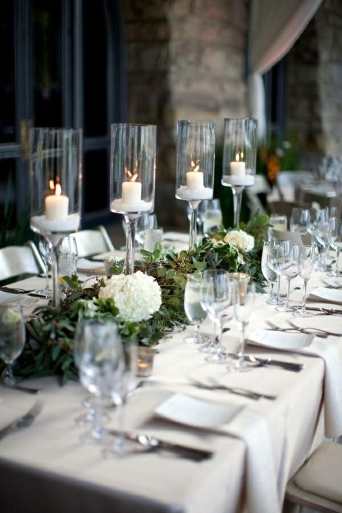 Deco table noel blanc et nature