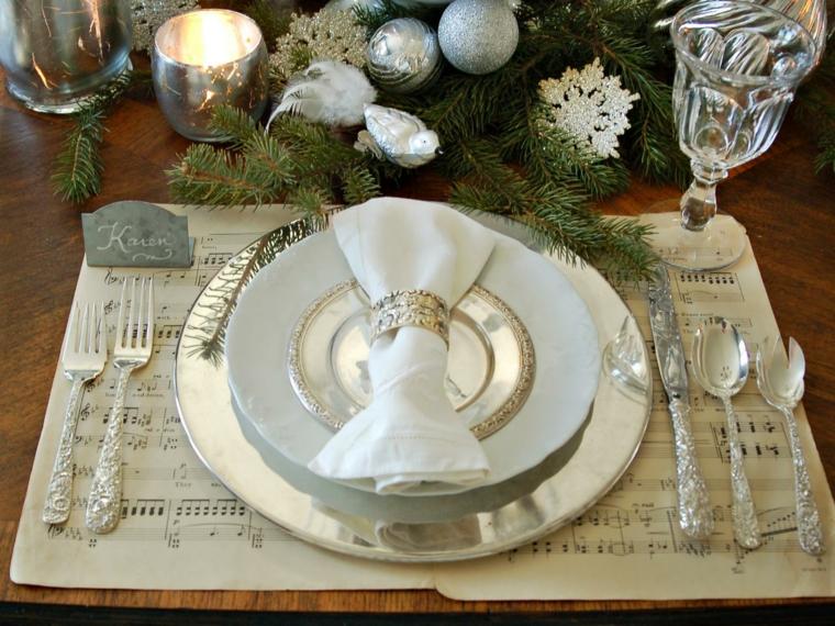 Déco de table noel blanc et or