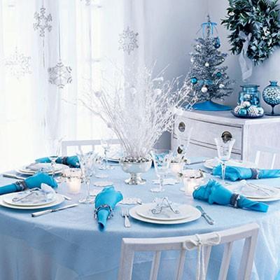 Deco noel bleu table