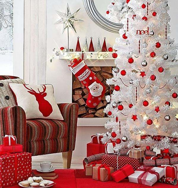 Decoration Sapin Noel Blanc Et Rouge