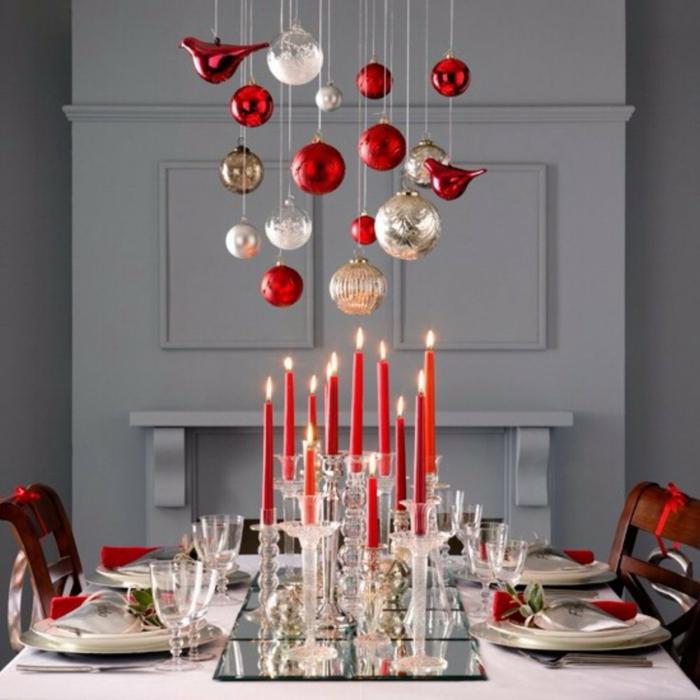Décoration De Table Noel Rouge Et Argent Idée De Luminaire