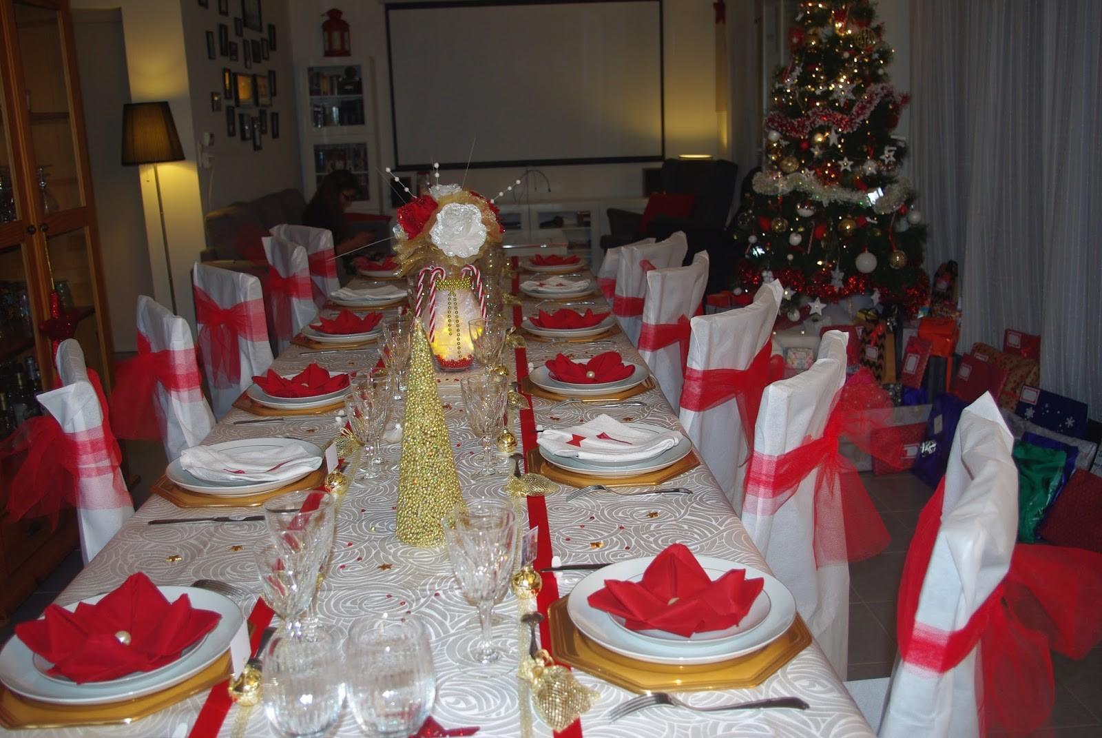 Decoration table de noel or et rouge