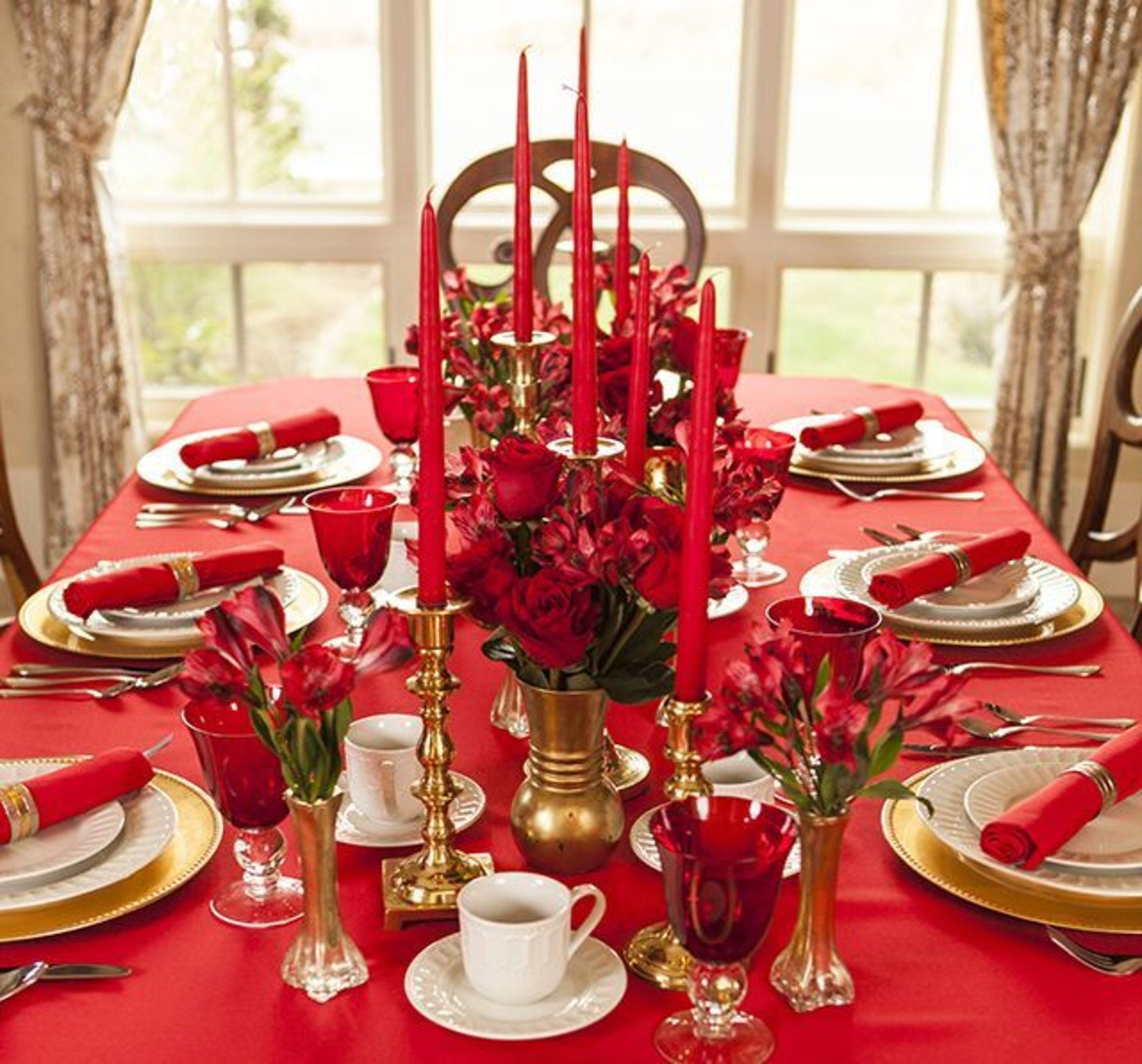 Deco table noel or et rouge