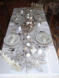 Décoration de table pour noël blanc