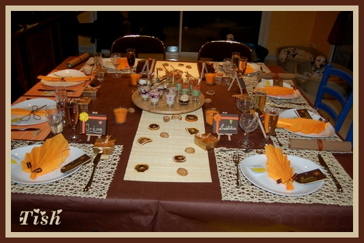 Décoration table noel marron