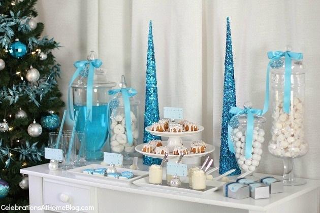 Decoration noel blanc et bleu