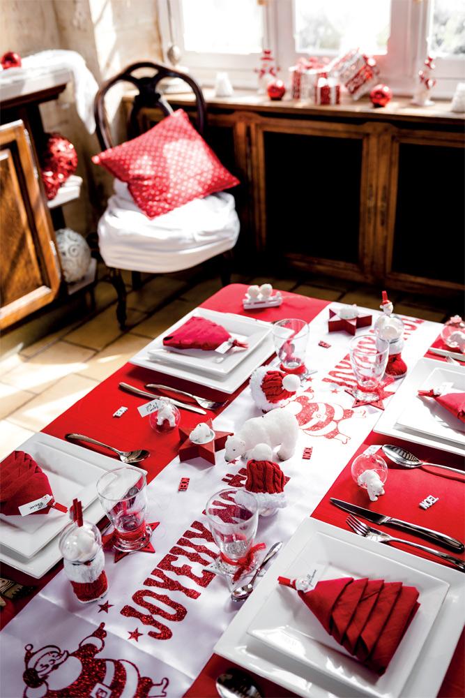 Deco noel rouge blanc table