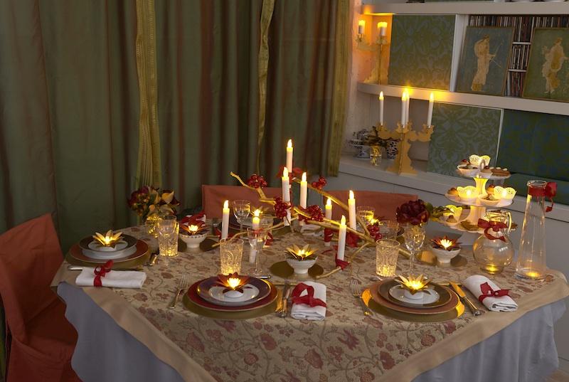 Decoration table noel fleurs