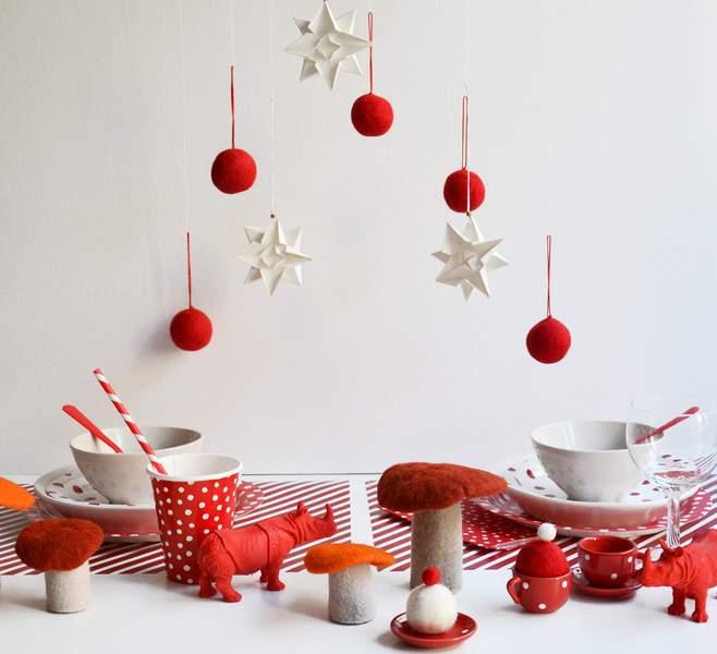 Decoration de noel blanche et rouge