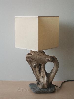 Lampe de chevet bois floté