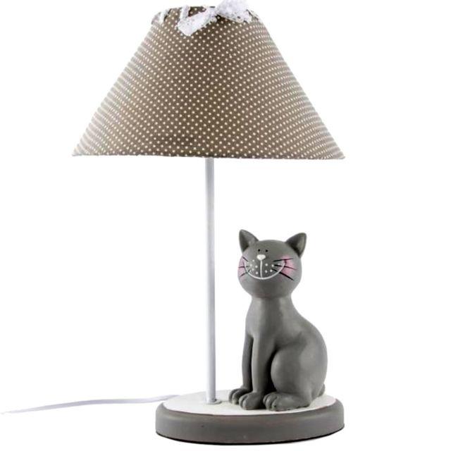 Lampe de chevet fille chat