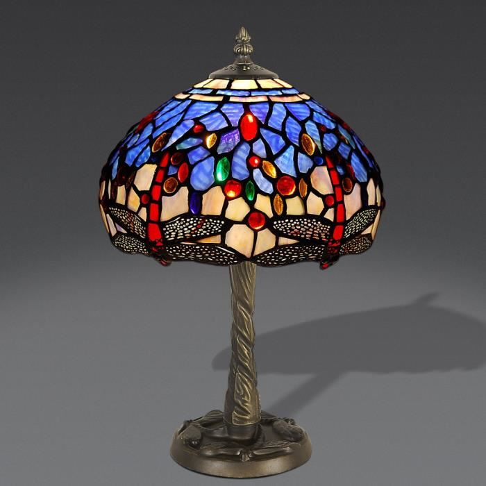 Lampe de chevet abat jour en verre